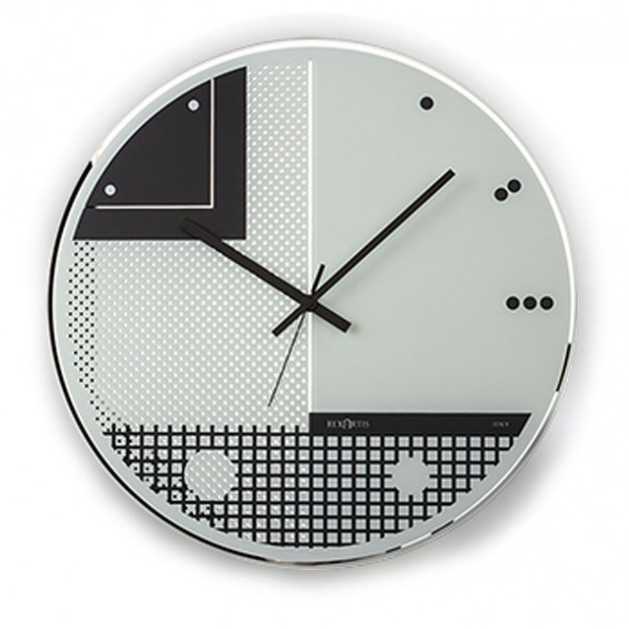 Clock in screen-Printed Glass model wall