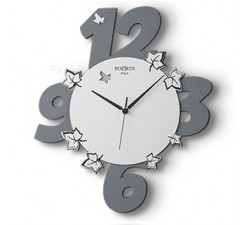 "DARK GREY WOOD WALL CLOCK ""GARDEN"""