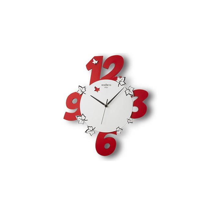 "RED PAINTED WOOD WALL CLOCK ""GARDEN"""