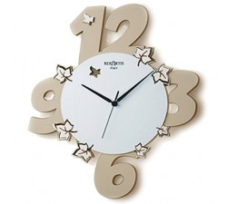 "CLEAR TAUPE PAINTED WOOD WALL CLOCK ""GARDEN"""