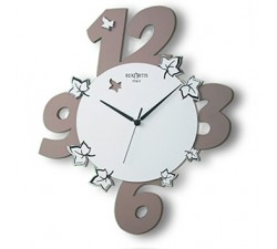 "DARK TAUPE PAINTED WOOD WALL CLOCK ""GARDEN"""