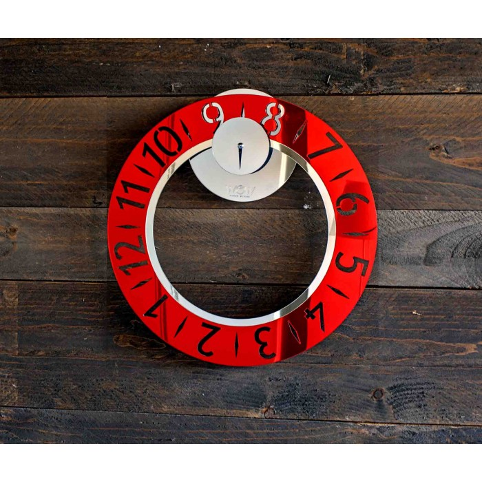 WALL CLOCK MODERN acrylic MIRRORED RED