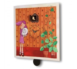 CUCKOO CUDDLES - CLOCK WITH PRINT ON WOOD, MOD. WALL