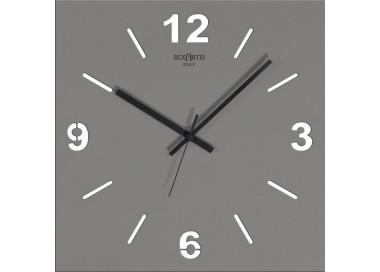 Orologio da muro quadrato Stile Wood Grey Rexartis