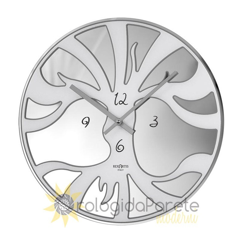 WALL CLOCK MODERN ROUND GLASS SILVER-PLATED SCREEN-PRINTED