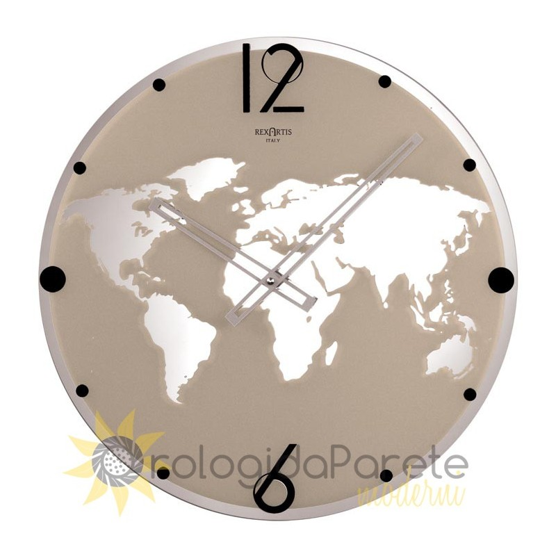 WALL CLOCK LAND REXARTIS GLASS SILVER-plated screen-PRINTED