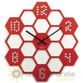 OOROLOGIO FROM THE WALL, ESPECIALLY IN THE RED WOOD HEXAGON