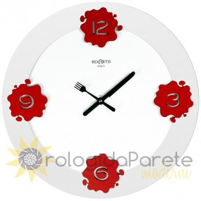 WALL CLOCK ROUND WOOD WHITE LACQUERED KITCHEN