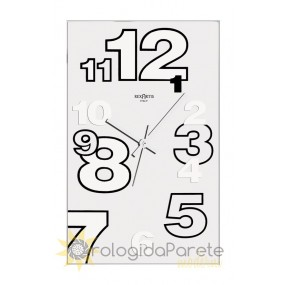 WALL CLOCK MODERN RECTANGULAR GLASS SILVER-PLATED SCREEN-PRINTED