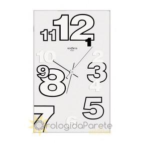 WALL CLOCK MODERN RECTANGULAR GLASS SILVER-PLATED SCREEN-PRINTED