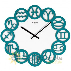 WALL CLOCK MODERN ZODIAC IN LACQUERED WOOD