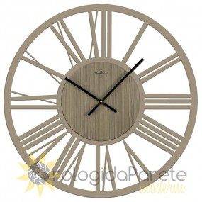 LARGE WALL CLOCK ROUND WOODEN PERFORATED LACQUERED