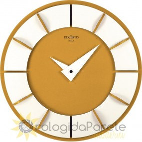 WALL CLOCK ROUND MODERN WOOD AND LACQUERED IN GOLD COLOR