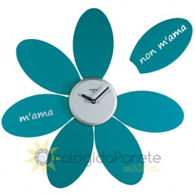 LARGE WALL CLOCK MODERN DAISY, PAINTED WOOD