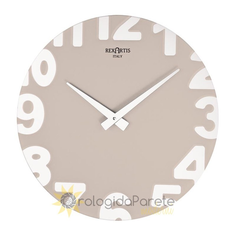 WALL CLOCK MODERN METROPOLITAN GLASS SILVER-PLATED SCREEN-PRINTED DOVE GREY CLEAR