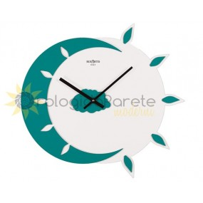 WALL CLOCK MODERN MYTEO IN LACQUERED WOOD ACQUAMARE