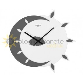 WALL CLOCK MODERN MYTEO WOOD, LACQUERED IN DARK GREY