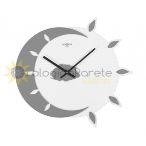 WALL CLOCK MODERN MYTEO WOOD LACQUERED LIGHT GREY