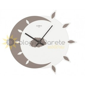 WALL CLOCK MODERN MYTEO IN LACQUERED WOOD-DOVE, DARK