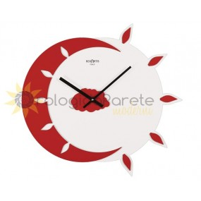 WALL CLOCK MODERN MYTEO IN LACQUERED WOOD RED