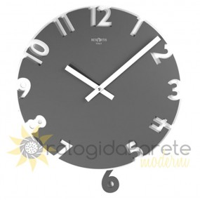 WALL CLOCK MODERN SIX WITH PENDULUM IN WOOD, LACQUERED IN DARK GREY