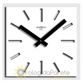 SQUARE CLOCK WALL MODERN NAOS IN WHITE PAINTED METAL