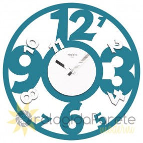 WALL CLOCK MODERN ROUND WOOD PIERCED COLORFUL