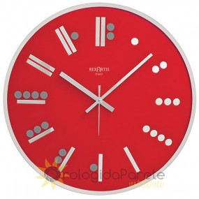 WALL CLOCK MODERN ROUND MAYA GLASS SILVER SILK-SCREEN PRINTED, RED