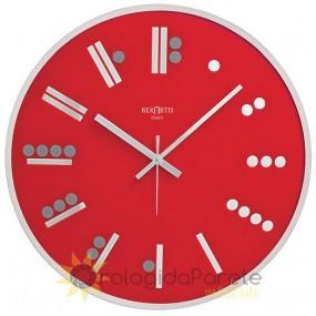 WALL CLOCK MODERN ROUND MAYA GLASS SILVER SILK-SCREEN PRINTED, RED