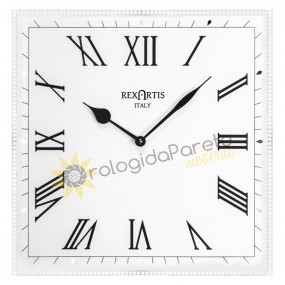 WALL CLOCK MODERN SQUARE CLASSIC GLASS SILVERED, SILK-SCREENED WHITE