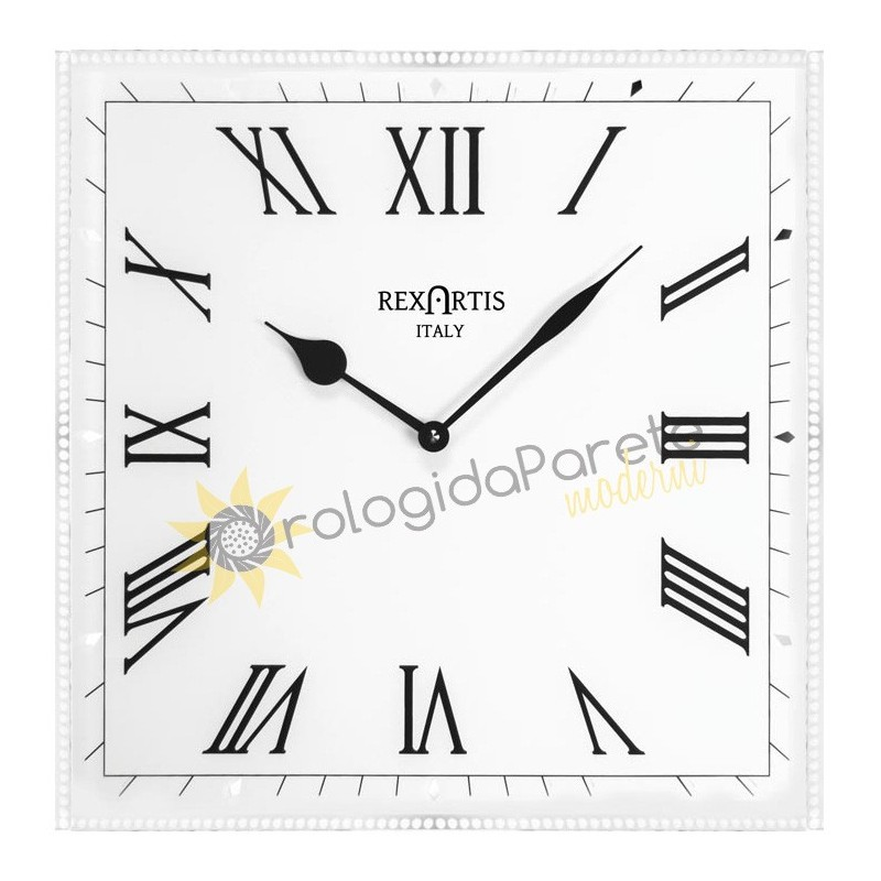 WALL CLOCK CLASSIC REXARTIS GLASS SILVER-plated screen-PRINTED