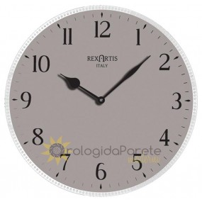 WALL CLOCK MODERN ROUND AVIOR GLASS SILVER-PLATED SCREEN-PRINTED DOVE DARK