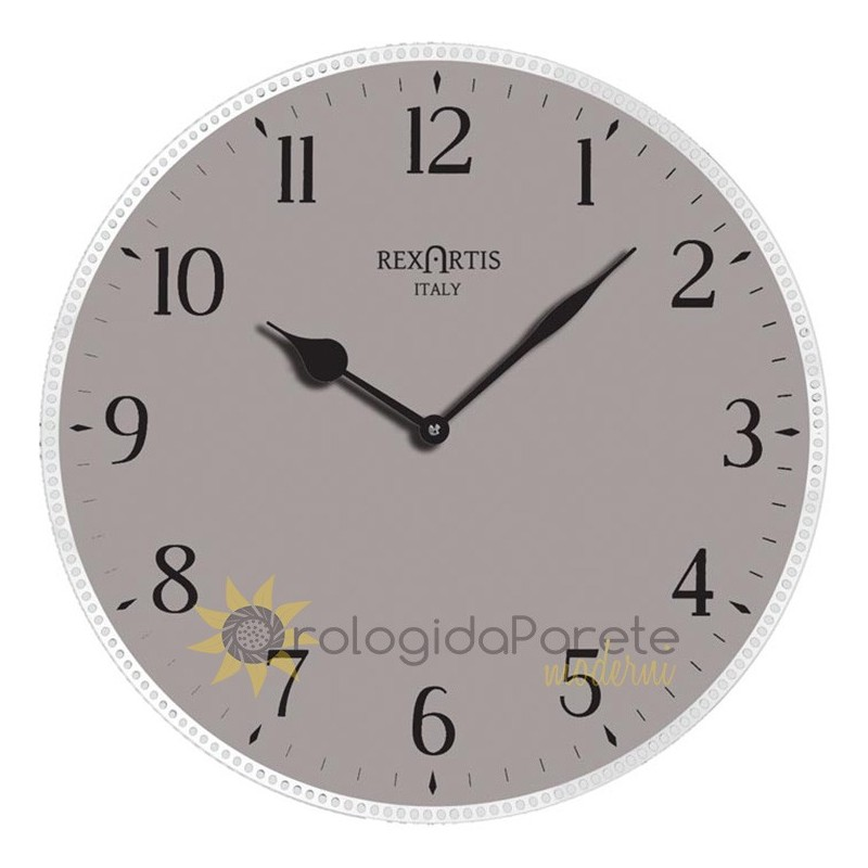 WALL CLOCK AVIOR REXARTIS GLASS SILVER-plated screen-PRINTED