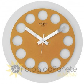 ROUND CLOCK WALL MODERN ROUNDTIME PAINTED METAL YELLOW GOLD