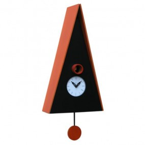 CLOCK CUCKOO NUREMBERG IN WOOD, WALL, ROOF, LACQUERED IN ORANGE ONLY