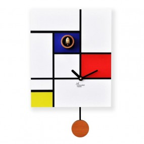 CUCKOO clock AROUND MONDRIAN - CLOCK WOOD WALL PRINTED WITH PENDULUM