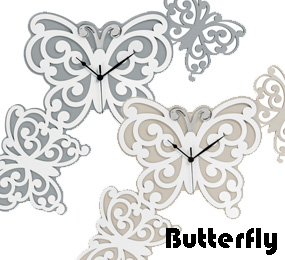 modern wall clocks with butterfly